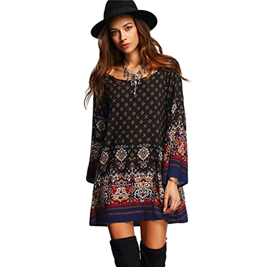Printed Dress, Rakkiss Womens Long Sleeve Vintage Party Beach Dress Casual