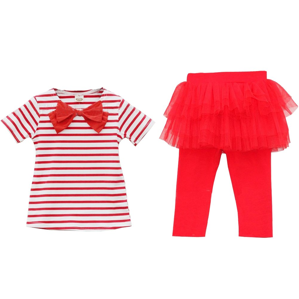 Top Shop US Girls Striped T-shirt Lace Divided Skirt Outfit, Two Pieces£¬red, 90