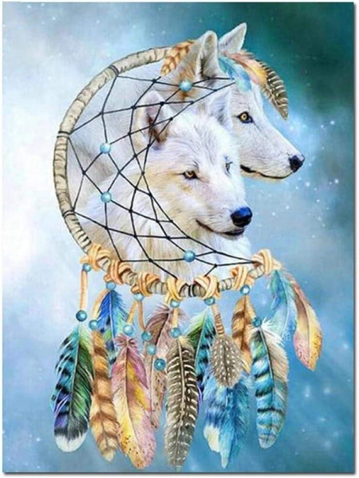 5D Diy Diamante Pintura Lobo Dream Catcher Patrón Punto de cruz Bordado de diamantes Venta Circular Decoración de diamantes de imitación,30X40cm