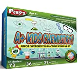 Playz STEM A+ Kids Chemistry Junior Experiments & Reactions Science Lab Kit - 72+ Experiments, 36 Page Laboratory Guide, and 27+ Tools & Ingredients for Boys, Girls, Teenagers, & Kids