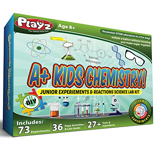 mechanical toys for toddlers Playz STEM A+ Kids Chemistry Junior Experiments & Reactions Science Lab Kit - 72+ Experiments, 36 Page Laboratory Guide, and 27+ Tools & Ingredients for Boys, Girls, Teenagers, & Kids