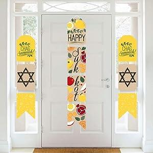 Big Dot of Happiness Sukkot - Hanging Vertical Paper Door Banners - Sukkah Jewish Holiday Wall Decoration Kit - Indoor Door Decor