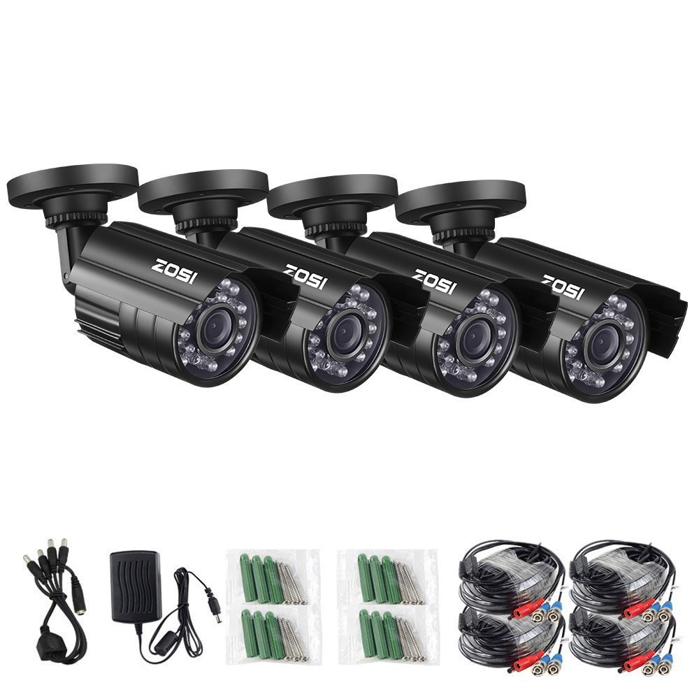 ZOSI 4 Pack HD-TVI 1280TVL 1.0MP Security Camera 720P 3.6mm Lens 24 IR LEDs Waterproof IP67 Infrared Night Vision HD Bullet Camera For 720P 1080N 1080P HD-TVI DVR systems Renewed