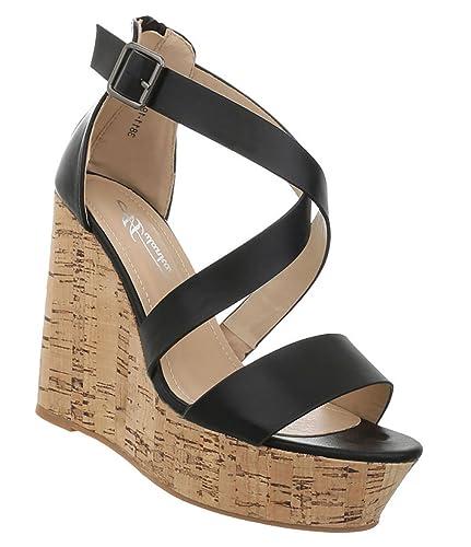 Damen Schuhe Sandaletten Keilabsatz Plateau Riemchenpumps Designer Trend Pumps Keilpumps Abendschuhe