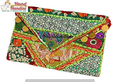 nandnandini textil–indio hecho a mano étnico embrague, Banjara bolsa, hecho a mano Boho bolsa, Urban Tribal embrague, Vintage Indian tela bolsa, juego de Bohemian Hippie bolsa de embrague.