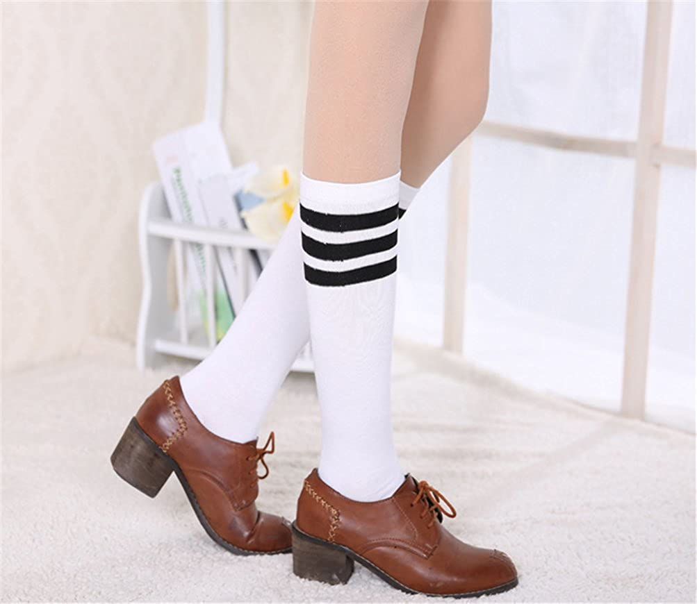 EDOTON 2 Paare Damen Streifen Rohr Socken Casual Kniestr/ümpfe Elastischen Oberschenkel Stocking
