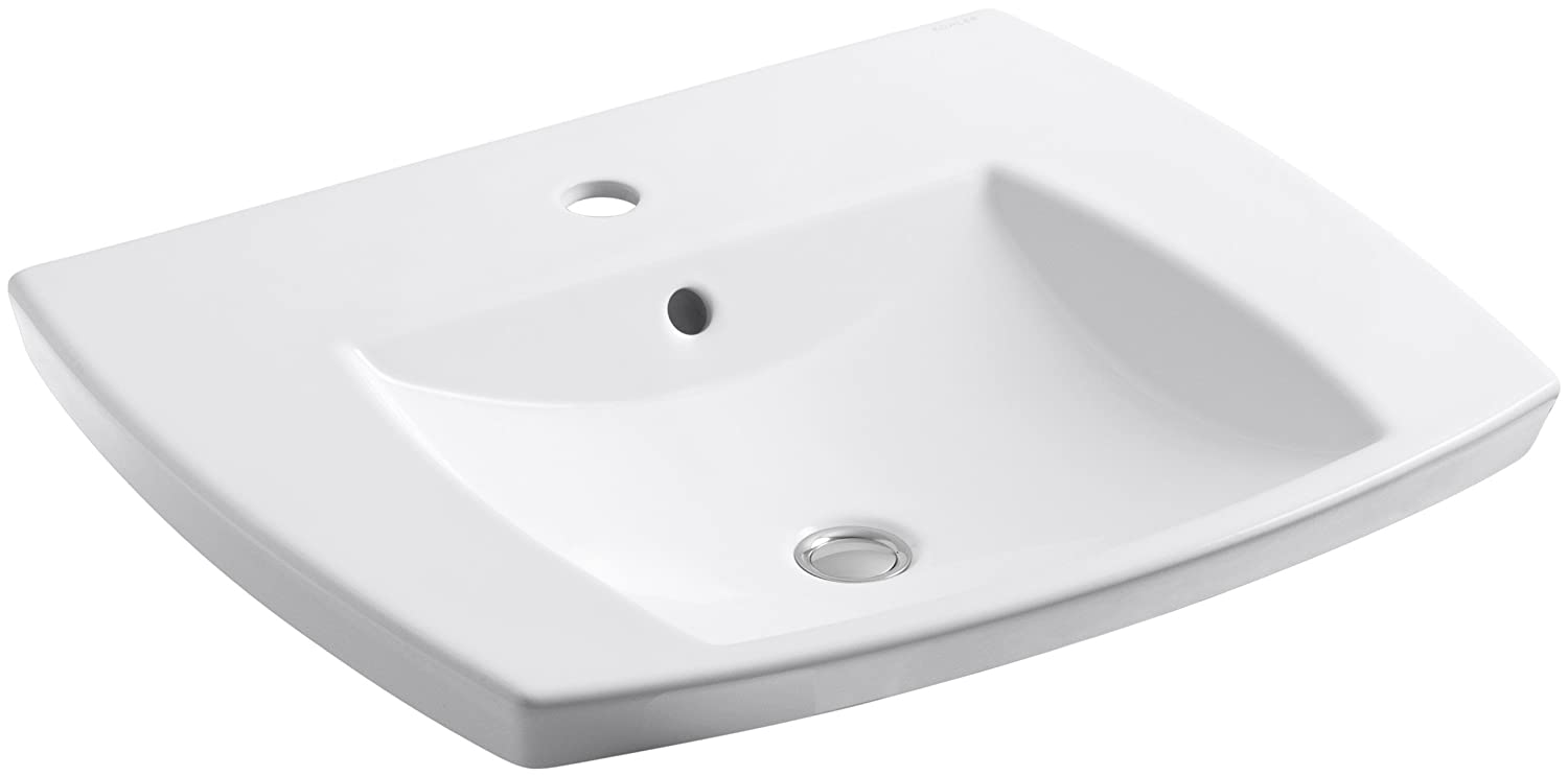 KOHLER K-2381-1-0 Kelston Self-Rimming Bathroom Sink with Single-Hole Faucet Drilling, White