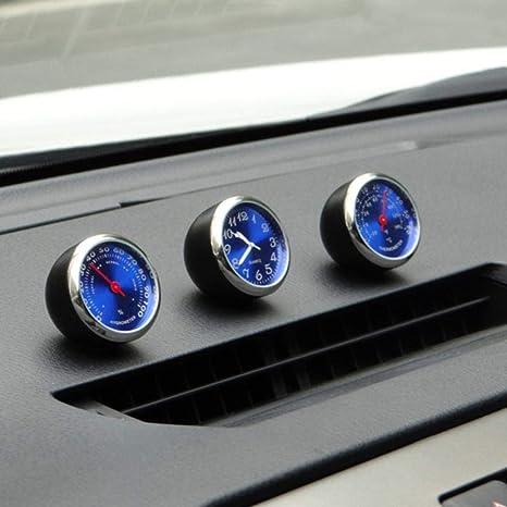 Mogoi Auto Armaturenbrett Uhr Auto Ventilatormechanismus Quarzuhrwerk Mini Auto Thermometer Hygrometer Zum Aufkleben Perfekte Dekoration Für