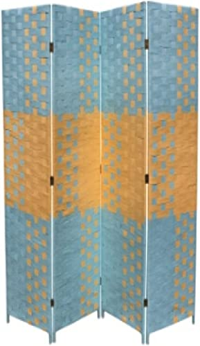 ORE International FW0676UC 4-Panel Screen Room Divider on 2-Inch Leg, Beach Blue Natural Paper Straw Weave