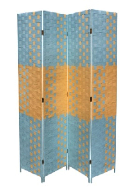 Ore International FW0676UF 4-Panel Screen Room Divider on 2-Inch Leg, Black/White Paper Straw Weave