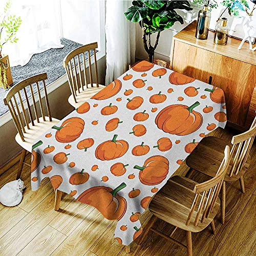 XXANS Spill-Proof Table Cover,Harvest,Halloween Inspired Pattern Vivid Cartoon Style Plump Pumpkins Vegetable,Dinner Picnic Table Cloth Home Decoration,W50x80L Orange Green White ()