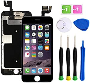 Premium Screen Replacement compatible with iPhone 6s plus 5.5 inch Full Assembly - LCD 3D Touch Display digitizer with front camera, Ear Speaker and Sensors, compatible with all iPhone 6s plus (BLACK)