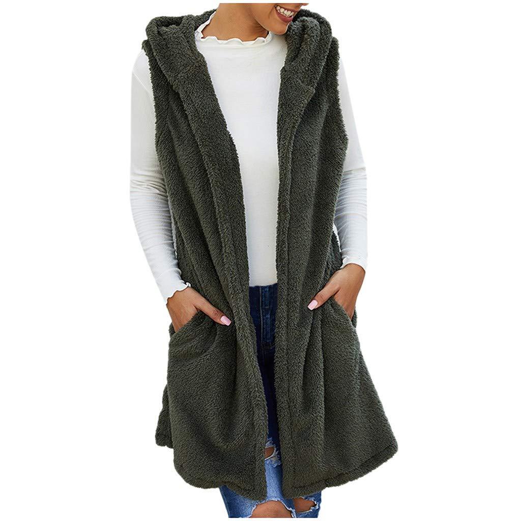 Lulupi Gilet Donna con Cappuccio Invernale Cardigan Lungo Senza Maniche con Tasche Cappotto di Pellicia Giacca Donna