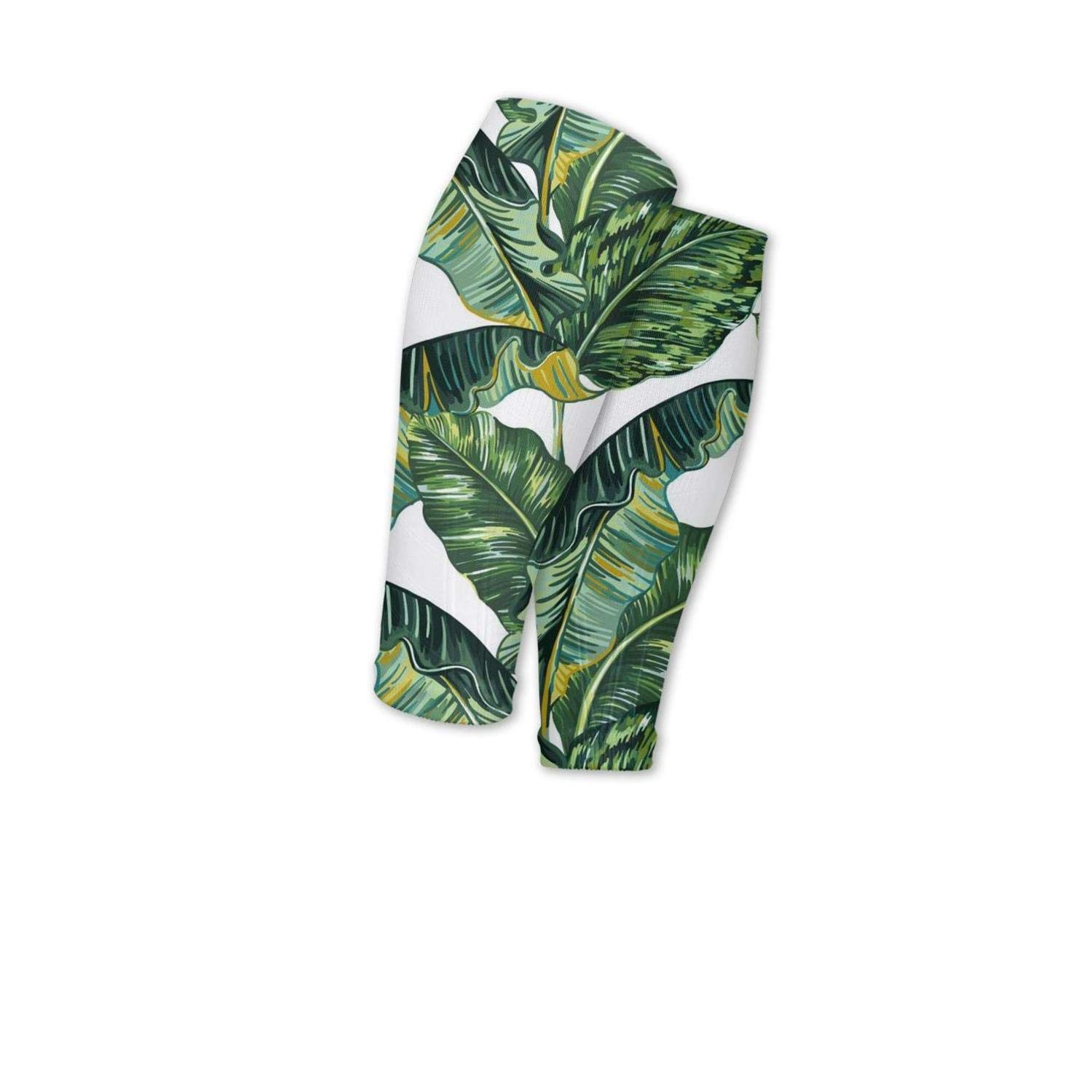 Smilelolly Tropical Jungle Plants Palm Leaf Calf Compression Sleeves Helps Calf Guard Leg Sleeves for Men Women