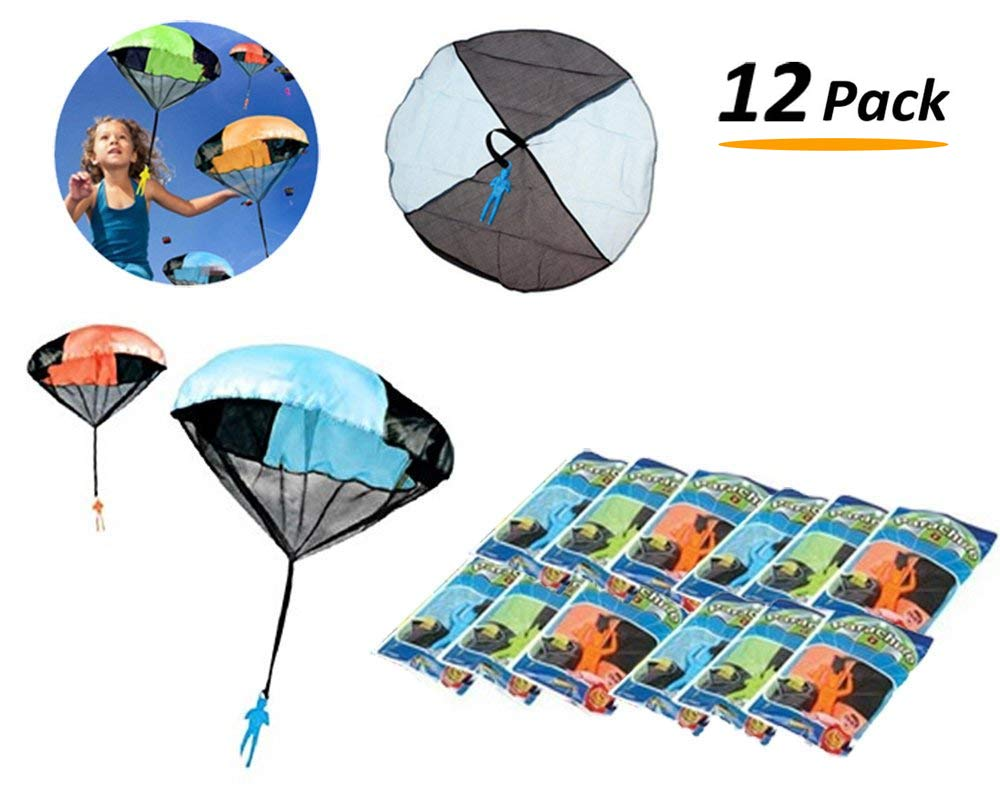 [12 Pack] Tangle Free Throwing Toy Skydiver Parachute Man for Kids Bulk Party Favors - (4 Inches)
