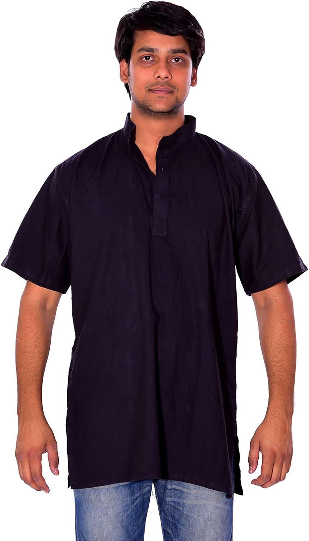 Indian 100/% Cotton Men Kurta Shirt T-Shirt Black Tunic Top Solid Color All Size