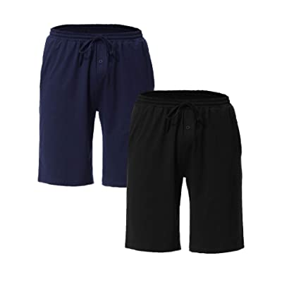 Aibrou Men's Sleep Shorts Cotton Knit Button Fly Pajama Short with Pockets at Men's Clothing store