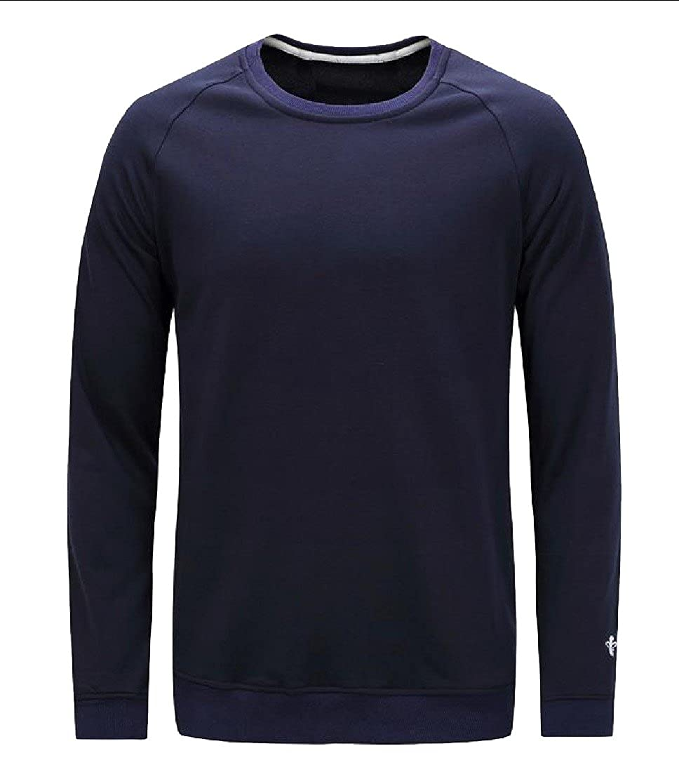 Honey GD Mens Cozy Simple Solid-Colored Long Sleeve Sweatshirts