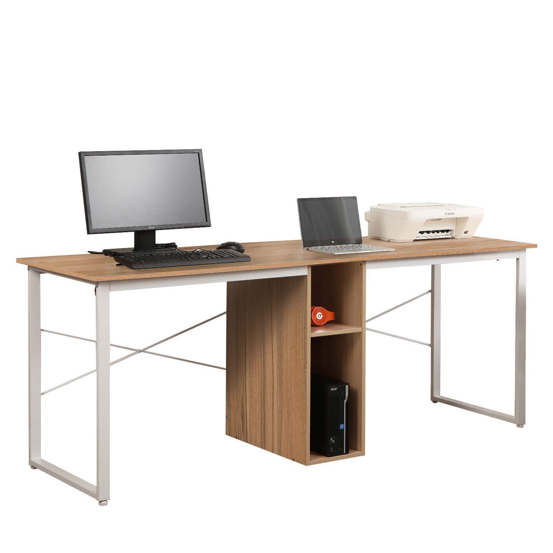 Mixcept 2-Person Computer Desk with Storage, 78'' Large Home Office Desk, Wood Double Workstation Writing Desk,HZ011-200-OK-MI (Oak) by Mixcept