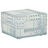 Rivet Adrian Side Storage Cube Ottoman, 24.5″W, Dark Blue For Sale