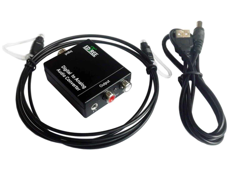 Convertidor de audio digital óptico a analógico RCA coaxial EDTree con entradas coaxiales Toslink y S/pdif y salidas RCA analógica y AUX de 3,5 mm ...