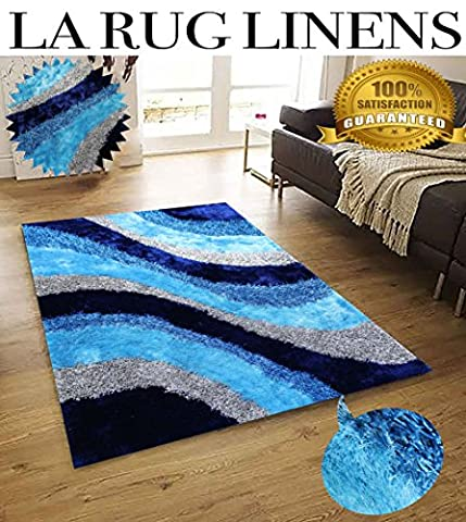 8-Feet-by-10-Feet Pile Rug Fluffy Fuzzy Modern Home Store 3D Kitchen Outdoor Indoor Bedroom Living Room Throw Carpet Floor Shag Rug Blue Silver Titanium Aqua Blue Turquoise ( BLD 281 Turquoise - Tufted Zebra Rug