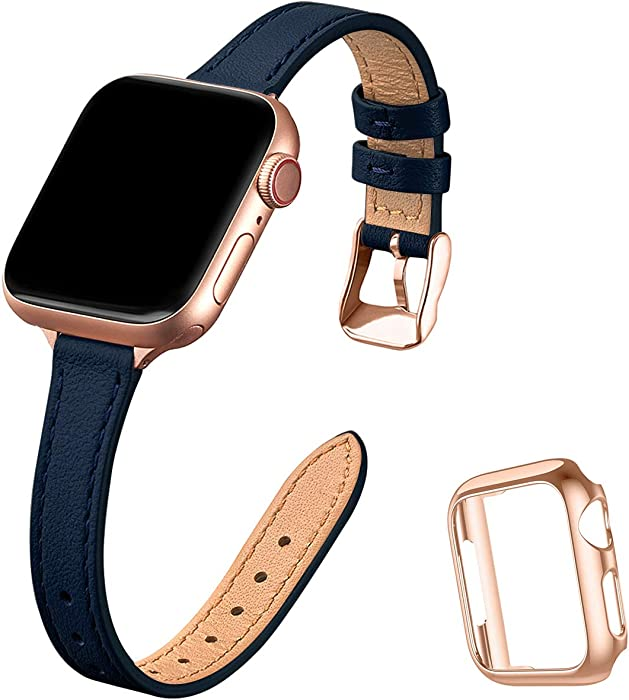 STIROLL Slim Leather Bands Compatible with Apple Watch Band 38mm 40mm 42mm 44mm, Top Grain Leather Watch Thin Wristband for iWatch SE Series 6/5/4/3/2/1 (Navy with Rose Gold, 38mm/40mm)