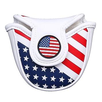 Outdoor Leisure Funda Cabeza de mazo Putter Cubierta con Cierre magnético Golf Palo de Golf, diseño de Bandera de EE. UU.