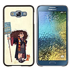 YiPhone /// Prima de resorte delgada de la cubierta del caso de Shell Armor - Pintura Mago Bruja Chica del arte del gato Dibujo - Samsung Galaxy E7 E700