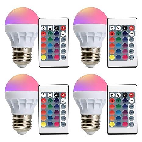 Bombilla LED Derlights 16 colores que cambian la bombilla LED E27 3W de RGB con el