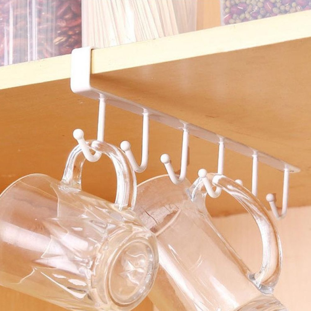 Bluelans® Mug Holder Under Shelf Cup Hanger Drying Rack 6 Hooks Tie Hanger Towel Holder Organizer Storage for Cabinet Kitchen Cupboard Bathroom (White)