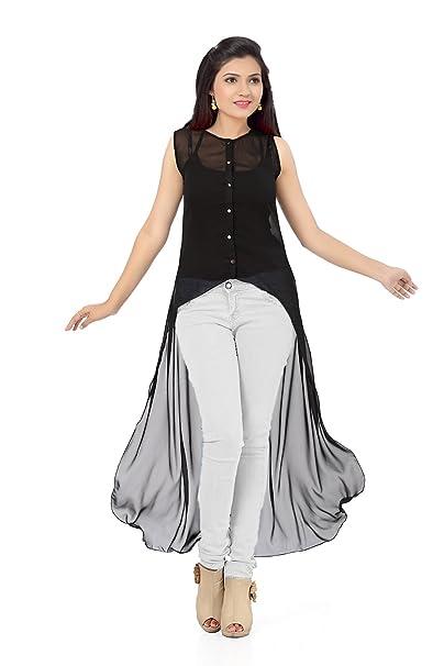 d9d946180eec9 Ishin Women s Georgette Asymmetrical Hemline Kurta  (INDWT-BP-6364 Black Medium)
