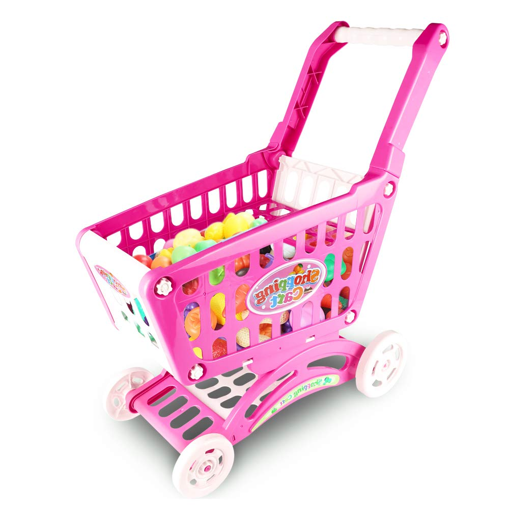 IAMGlobal 22'' Shopping Cart Toy, Kids Shopping Cart for Toy Grocery, Kids Supermarket Cart, Pretend Play Toy Pretend Food Fruits Vegetable Playset with 45 Pieces for Toddlers (Pink)