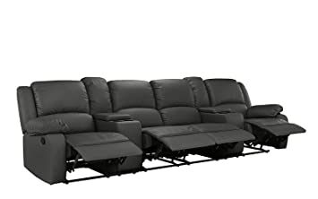 Amazon Com 4 Seat Large Classic Recliner Sofa With Cup Holders
