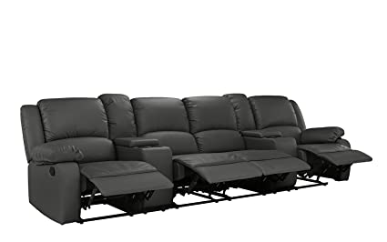 4 Seat Large Classic Recliner Sofa with Cup Holders, Home Theater Recliner Couch (Grey)