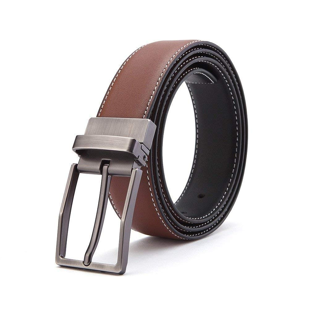 LVLUOYE Men Belt Leather Dress Single With For Reversible Prong Twisted Buckle Business Casual: S