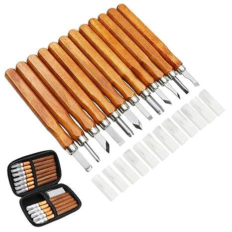MAIKEHIGH 14Pcs Kit de herramientas de talla de madera - Cinceles de talla profesional Cuchillo Mango para esculturas de bricolaje Expertos de ...