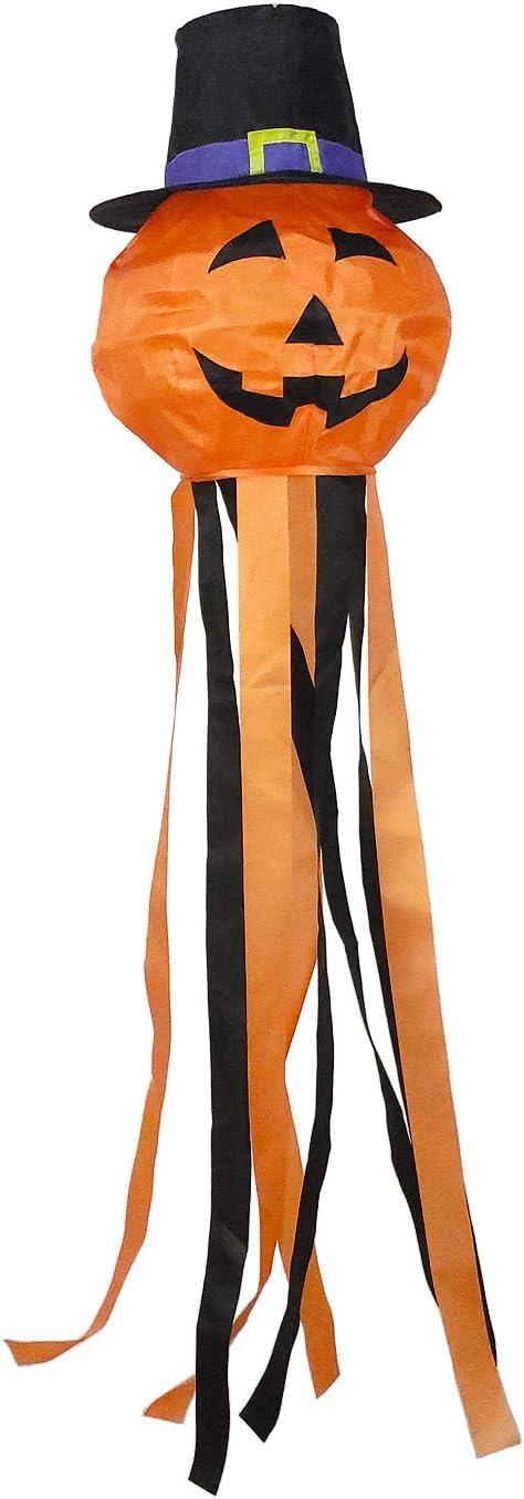 OUTOUR Halloween Pumpkin Jack-O-Lantern Jack O Lantern Fabric Windsock Wind Sock Hanging Decorations 52