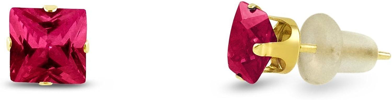 Cuadrado Kezef 3x 3mm extra pequeño laboratorio creado rojo rubí 10K oro amarillo bebé pendientes