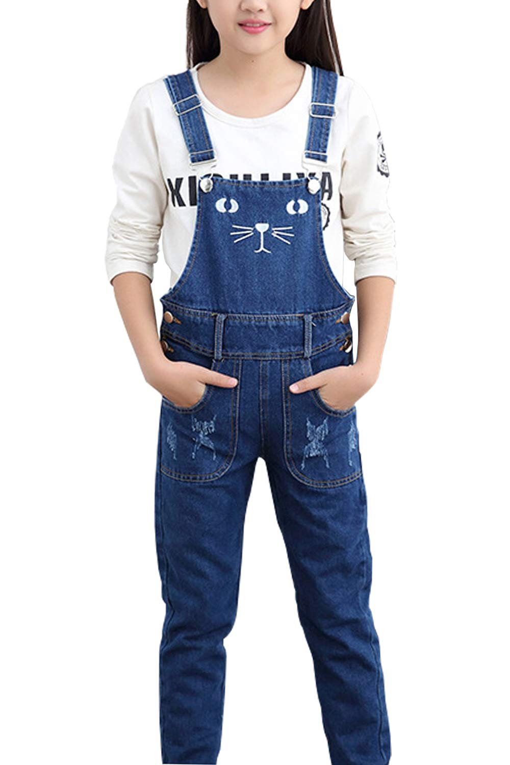 Merryway Big Girls Kids Distressed Denim Overalls Cute Cat Jeans Strecthy Ripped Jeans Romper(Not Include T-Shirt)