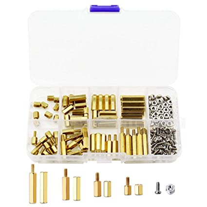 200 Pieces M2.5 Elrctronic-Salon Hex Male=Female Brass Spacer Standoffs Stainless Steel Screw Nuts Kit,Copper Brass Pillars Circuit Spacer Round Single Cylinder Head