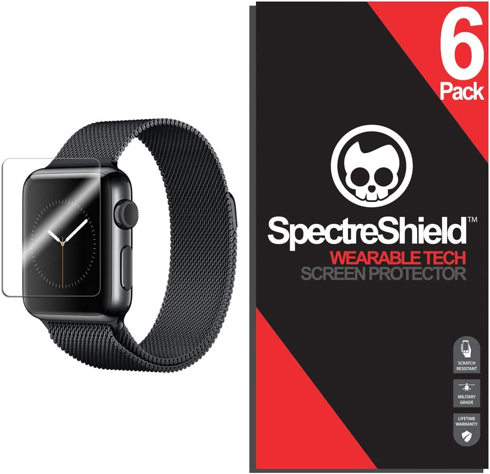 Spectre Shield (6 Pack) Screen Protector for Apple Watch 38mm (Series 3 2 1) iWatch Accessory Apple Watch 38mm Series 3 Screen Protector Case Friendly Full Coverage Clear Film