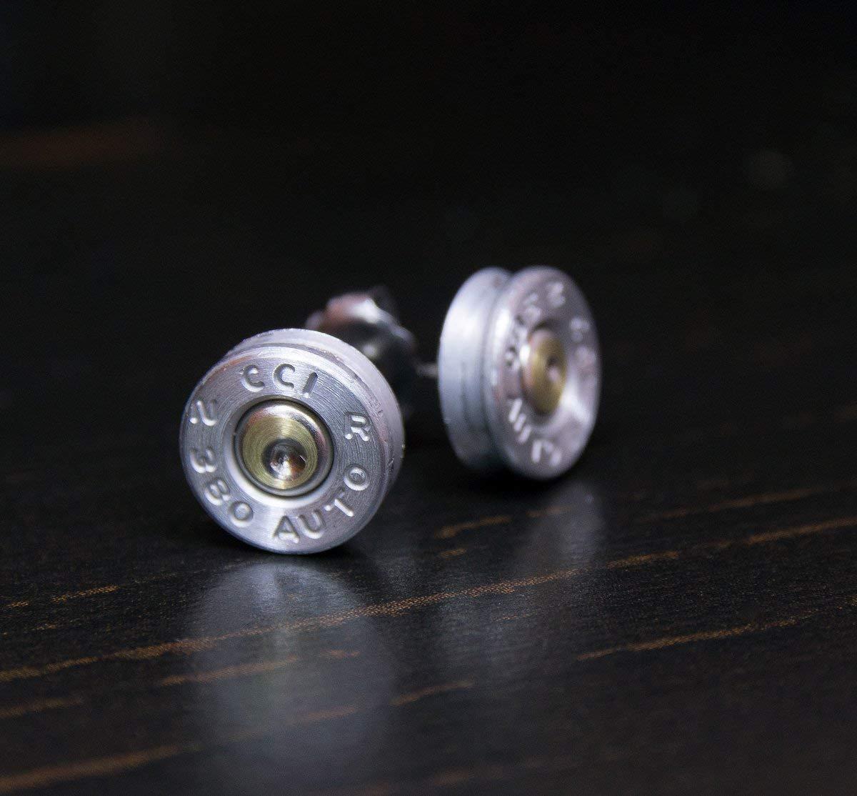 .380 Aluminum Bullet Casing Earrings Green CZ with Titanium Posts Nickel Free Hypoallergenic Bullet Earring Studs