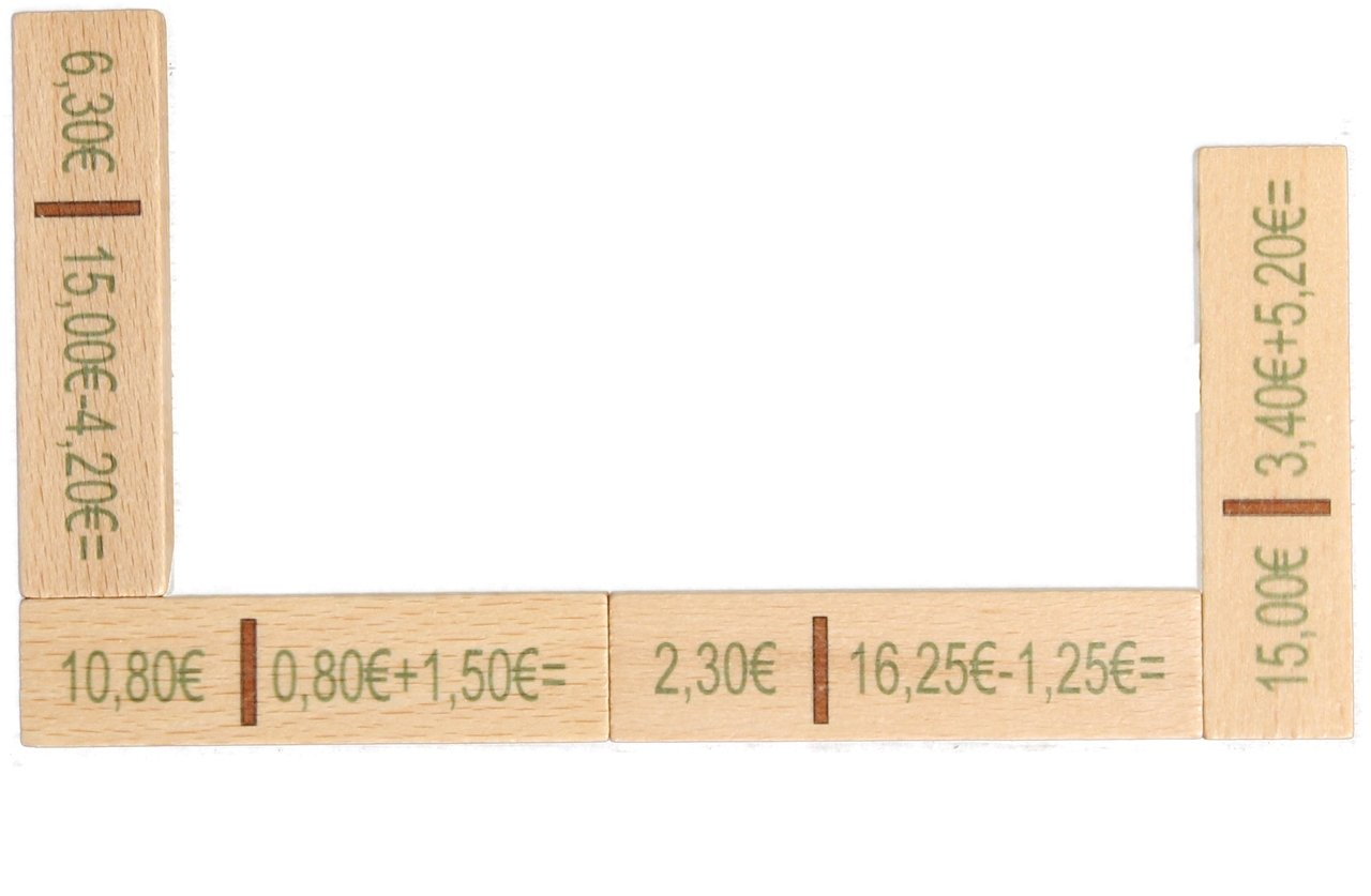 Rechendomino Euro 40 Teile , 20 x 16 x 3 cm NEU Rechenspiel Mathe lernen Denkspiel Erzgebirgische Holzspielwaren Ebert GmbH