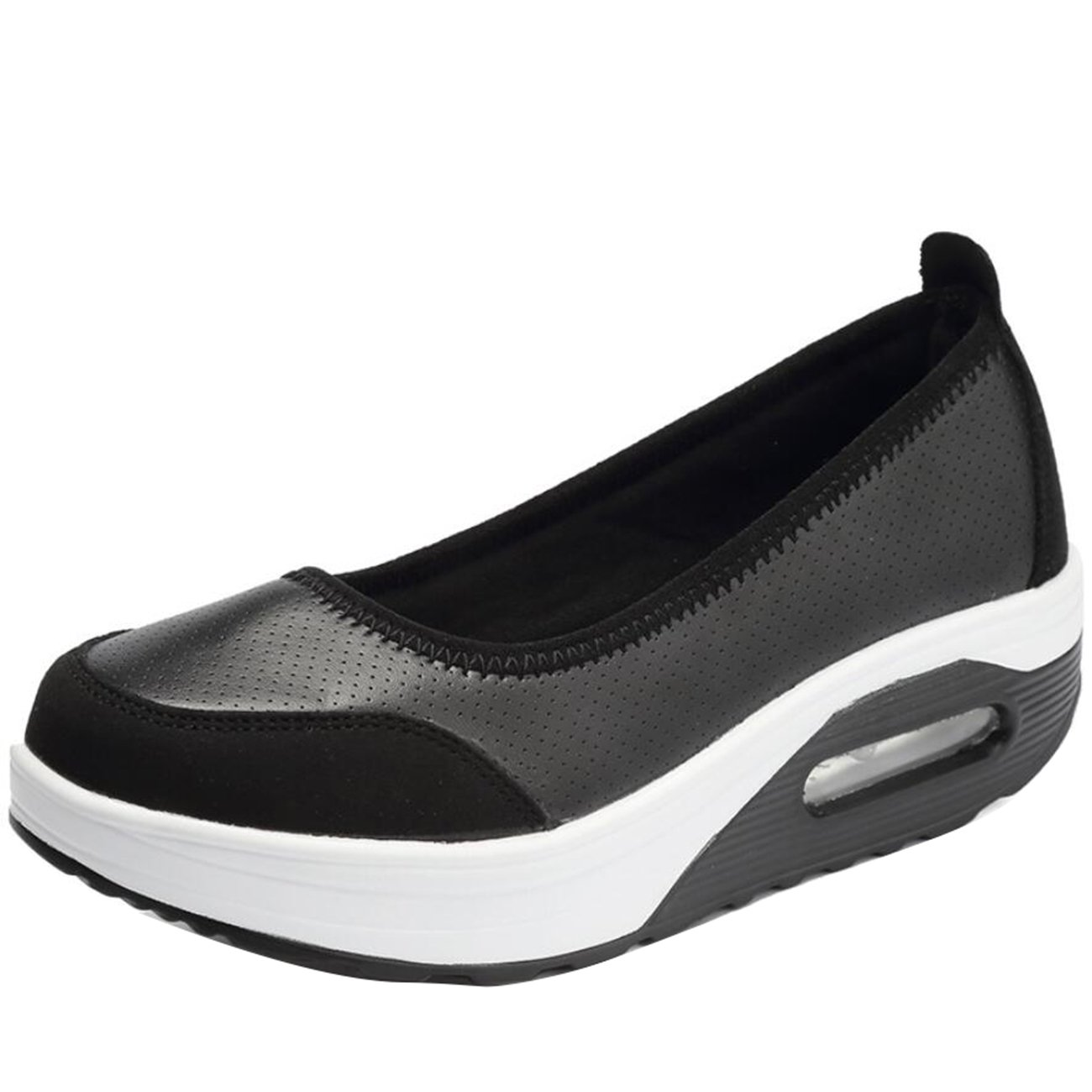 Mashiaoyi Womens Hollow Flatform Slip-On Lace Boat Shoes
