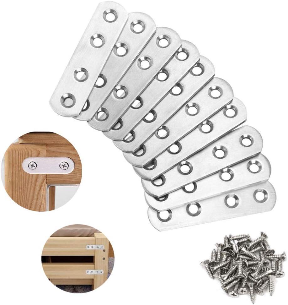 R/éparation Support Fixation Meubles 80 x 17 mm Supports Plats en Acier Inoxydable avec Vis 10 Pi/èces Fixation Droits Plats Plaques Plaque de R/éparation Meubles