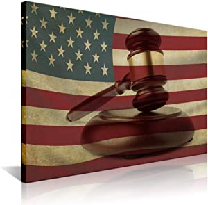 Biuteawal - Law Canvas Wall Art Justice Hammer on American Flag Background Picture Prints on Canvas Contemporary Artwork for Home Office Study Room Bedroom Decoration Ready to Hang