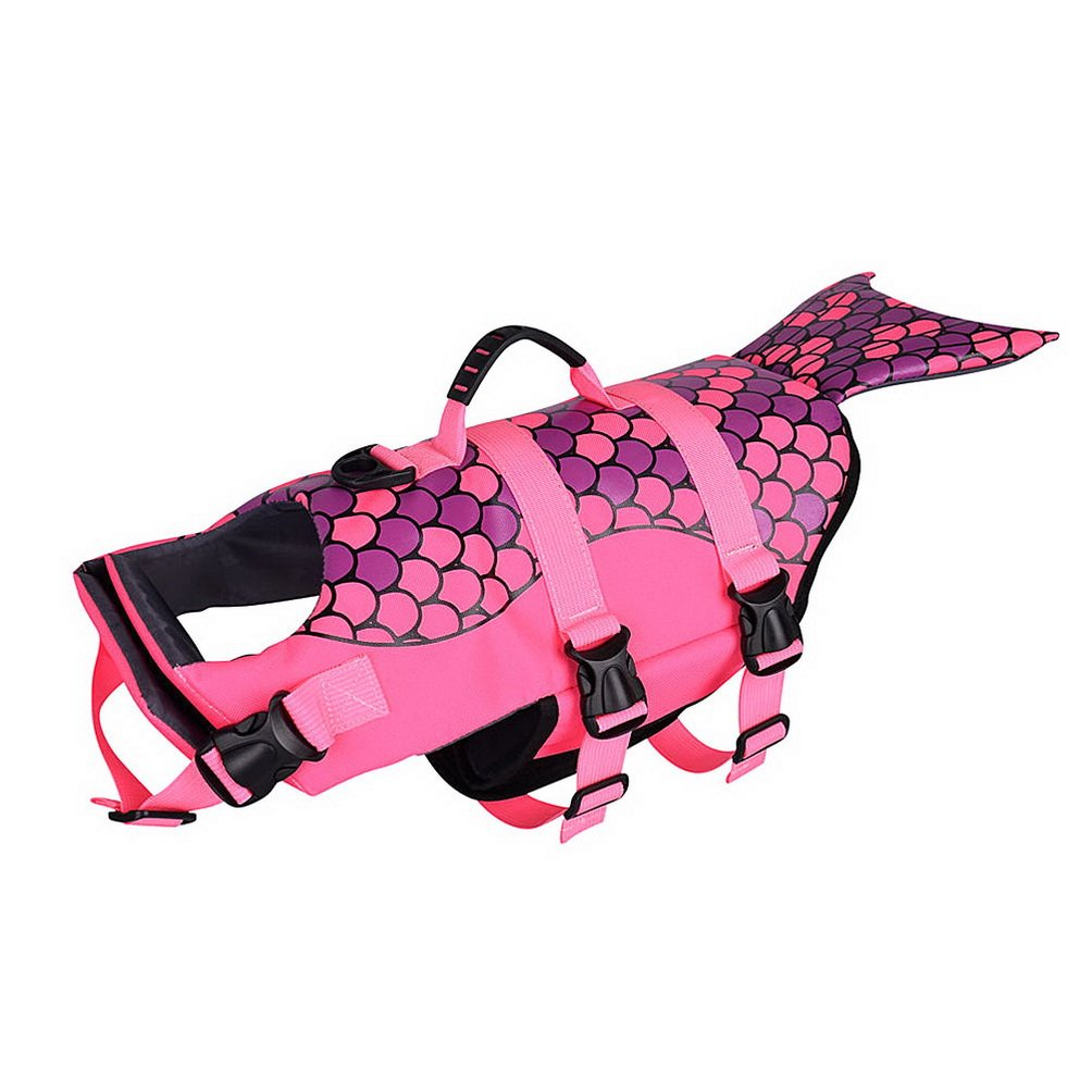 M SELMAI Puppy Pet Dog Life Jacket Adjustable Handle Set Mermaid Shape Funny Design Size M