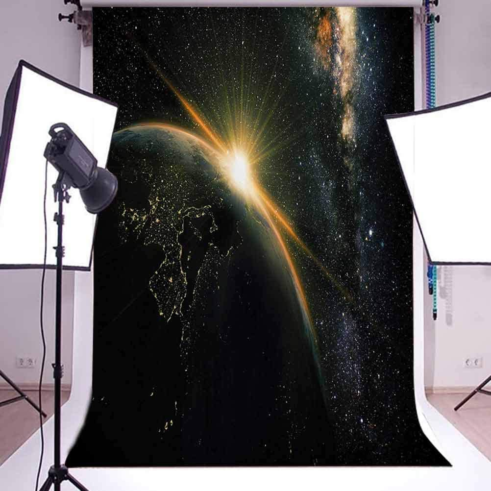 Sunrise View of The Planet Earth from Space with Stars in Milky Way Outer Space Art Print Background for Baby Birthday Party Wedding Vinyl Studio Props Photography 10x15 FT Photography Backdrop