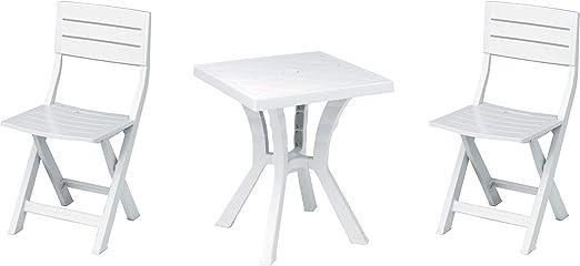 Salone-negozio-online Duetto Juego Resina Mesa + 2 sillas Blanco Muebles Exterior: Amazon.es: Jardín